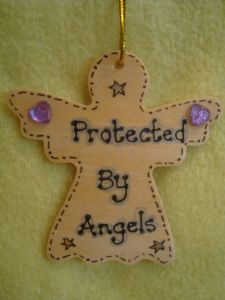 **SALE** was £1.99 Protected By Angels Inspirational Angel Wooden Hanger Sign Ready to Despatch Handmade Unique Shabby Chic Item